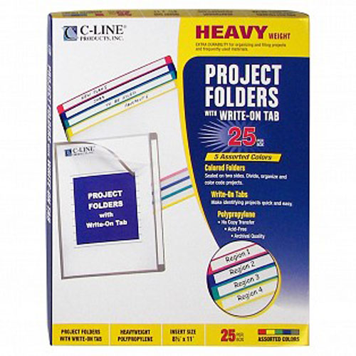 C-Line Assorted Colored Project Folders with Write-On Tab 25pk (CLI-62160) - $17.79 Image 1