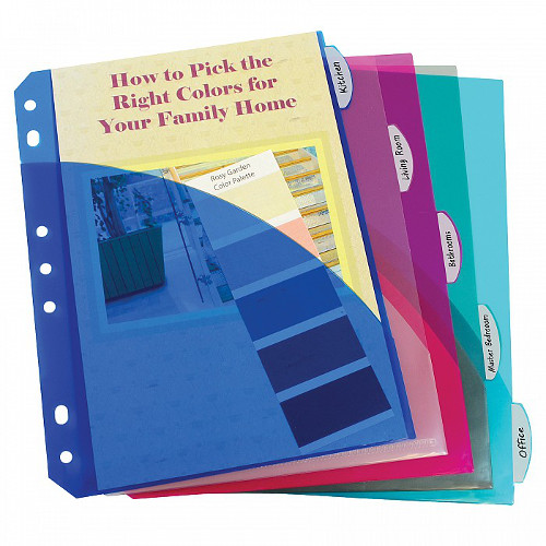 C-Line Assorted Mini Size Poly Index Dividers with Slant Pockets 5pk - CLI-3750 (CLI-03750) Image 1