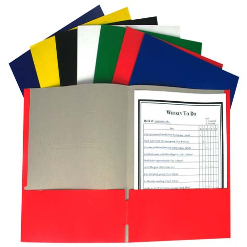 C-Line Assorted Recycled Two-Pocket Paper Portfolio 100pk - CLI-5300 (CLI-05300) Image 1
