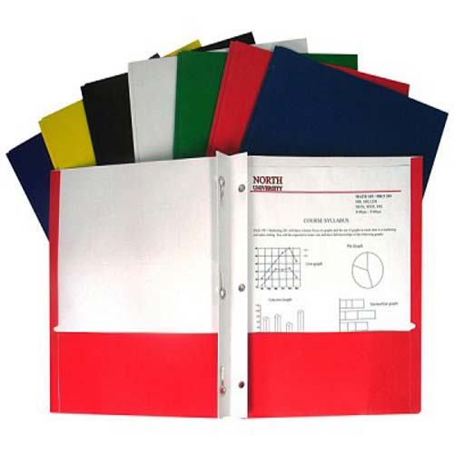 C-Line Assorted Recycled Two-Pocket Portfolio with Prongs 100pk - CLI-5320 (CLI-05320) Image 1
