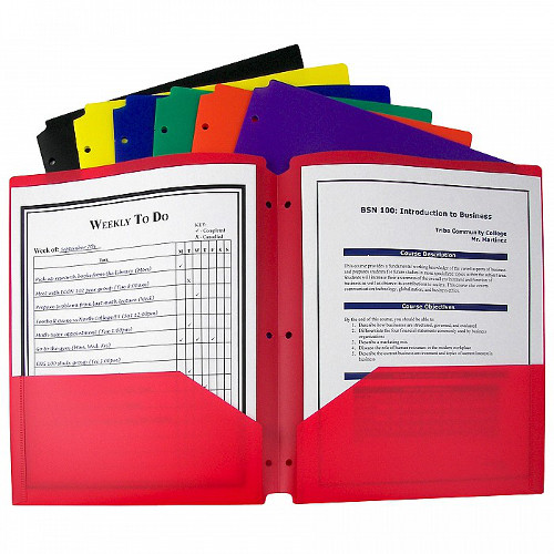 C-Line Assorted Two-Pocket Poly Portfolio Folder with Three-Hole Punch 1pk (CLI-33930) Image 1