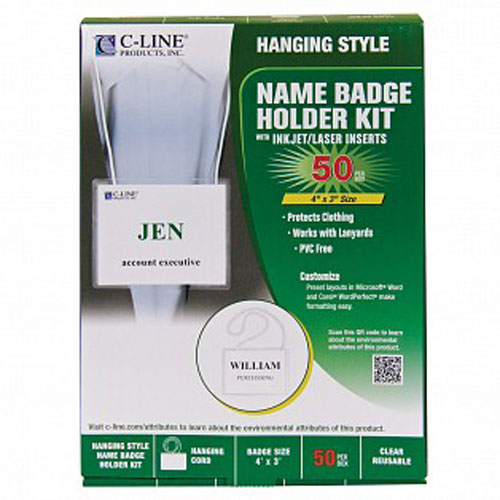 "C-Line Biodegradable 4"" x 3"" Name Badge Holder Kit 50pk (CLI-97043) Image 1"