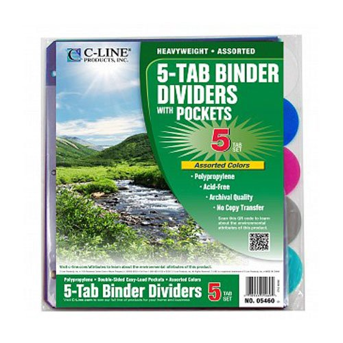 C-Line Biodegradable 5-Tab Binder Index Dividers with Slant Pockets (CLI-05460) Image 1