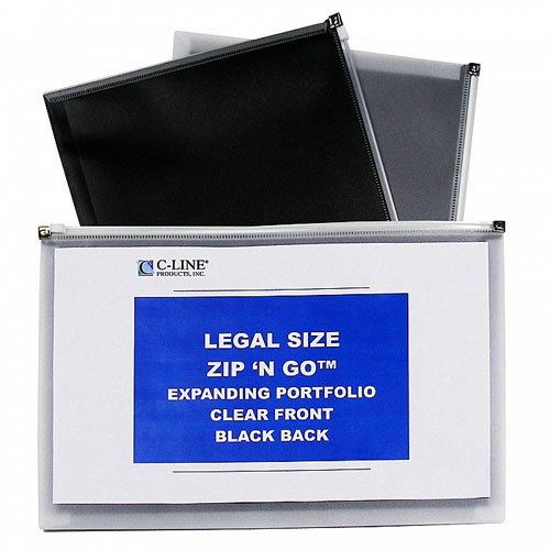 "C-Line Black Legal Size 15"" x 12"" Zip 'N Go Reusable Envelope 5pk (CLI-48101) Image 1"