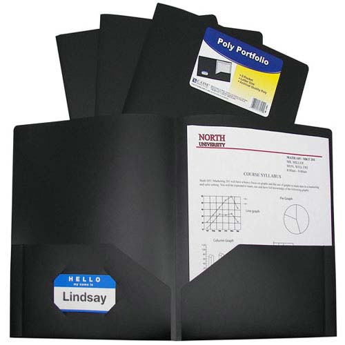 C-Line Black Two-Pocket Heavyweight Poly Portfolio 25pk (CLI-33951) Image 1