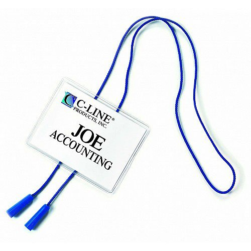 C-Line Blue Bolo Cord Hanging Style Name Badge Holder Kits 25pk (CLI-96053) Image 1
