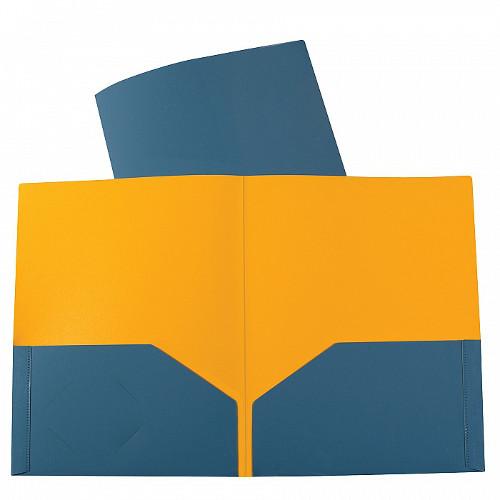 C-Line Steel Blue/Amber Orange Two-Tone Two-Pocket Super Heavyweight Poly Portfolio 1pk (CLI-34705) Image 1