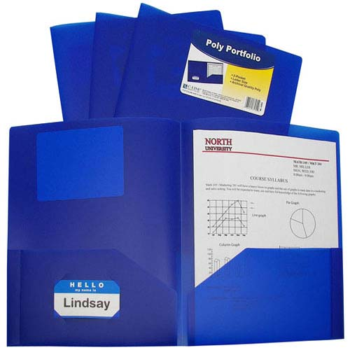 C-Line Blue Two-Pocket Heavyweight Poly Portfolio 25pk (CLI-33955) - $32.29 Image 1