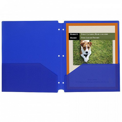 C-Line Blue Two-Pocket Poly Portfolio Folder with Three-Hole Punch 25pk (CLI-32935) Image 1