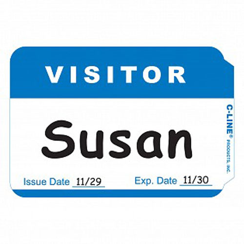 C-Line Blue Visitor Sensitive Peel & Stick Name Badges 100pk (CLI-92245) Image 1