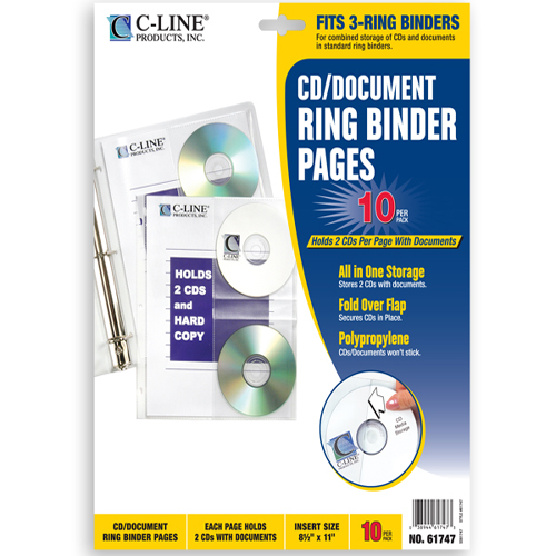 C-Line CD/Document Ring Binder Pages 10pk (CLI-61747) Image 1