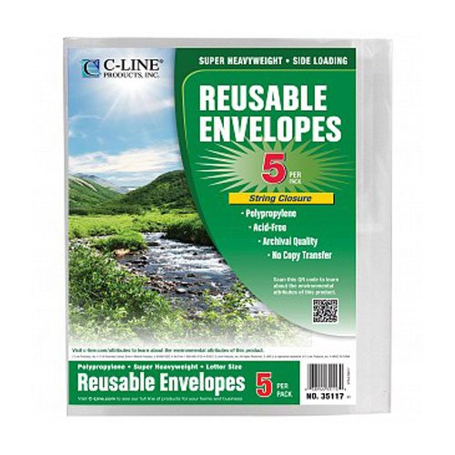 C-Line Clear Biodegradable Poly Envelope w/ String Closure 5pk (CLI-35117) - $3.35 Image 1