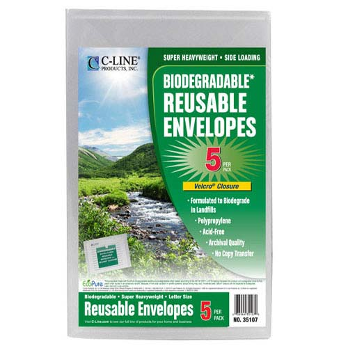 C-Line Clear Biodegradable Reusable XL Poly Envelopes w/ Hook and Loop Closure 5pk (CLI-35107)