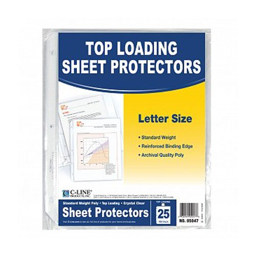 C-Line Clear Standard Weight Poly Top Load Sheet Protectors 25pk - CLI-5047 (CLI-05047) - $3.69 Image 1