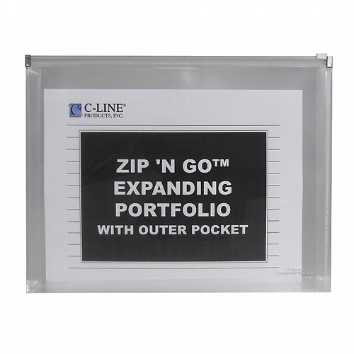 C-Line Clear Zip 'N Go Reusable Envelope with Outer Pocket 3pk (CLI-48117) Image 1