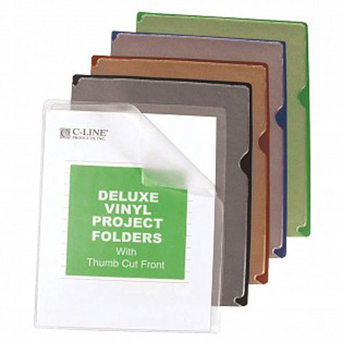 C-Line Deluxe Heavyweight Vinyl Project Folder w/ Colored Back 35pk (CLI-62150)