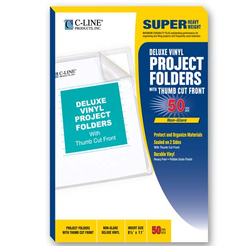 C-Line Deluxe Heavyweight Vinyl Project Folders - 50/BX (CLI-DHVPF)