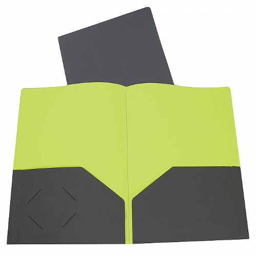 C-Line Charcoal Gray/Lime Green Two-Tone Two-Pocket Super Heavyweight Poly Portfolio 1pk (CLI-34701) - $1.59 Image 1