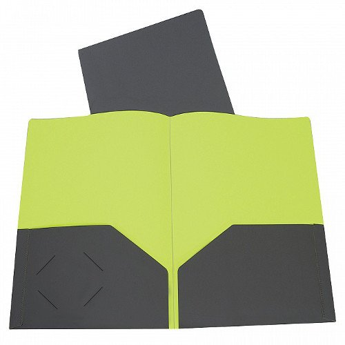 C-Line Charcoal Gray/Lime Green Two-Tone Two-Pocket Super Heavyweight Poly Portfolio 1pk (CLI-34701) Image 1