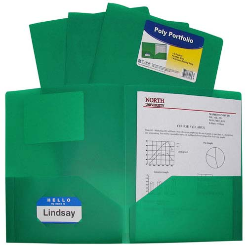 C-Line Green Two-Pocket Heavyweight Poly Portfolio 25pk (CLI-33953) - $32.29 Image 1