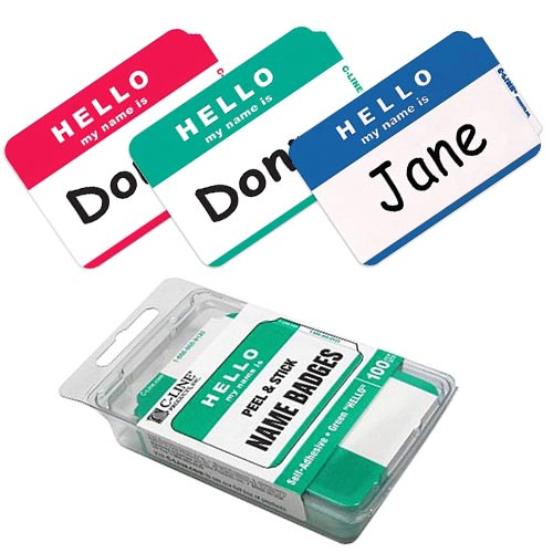 C-Line Hello Pressure Sensitive Peel & Stick Name Badge - 100/BX (CLI-HPSPSNB) Image 1