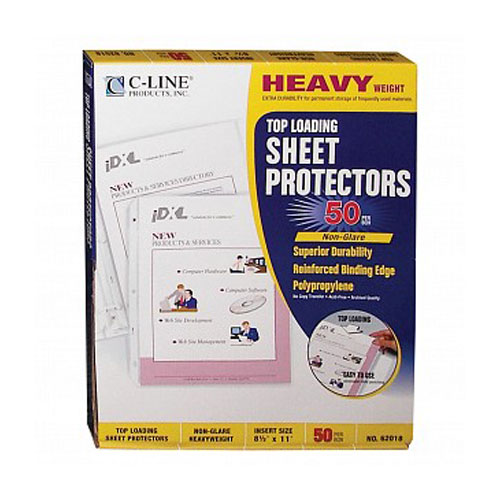 C-Line Letter Size Non-glare Heavyweight Poly Sheet Protectors 50pk (CLI-62018), C-Line brand Image 1
