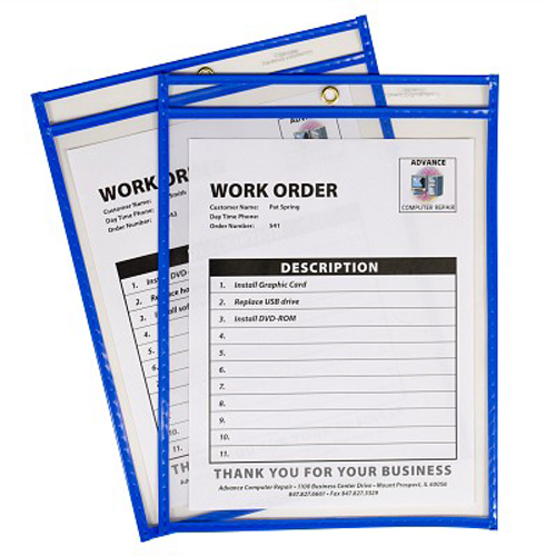 "C-Line Neon Blue 9"" x 12"" Stitched Shop Ticket Holders 15pk (CLI-43915), Work from Home Products Image 1"