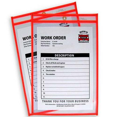 "C-Line Neon Orange 9"" x 12"" Stitched Shop Ticket Holders 15pk (CLI-43912) Image 1"