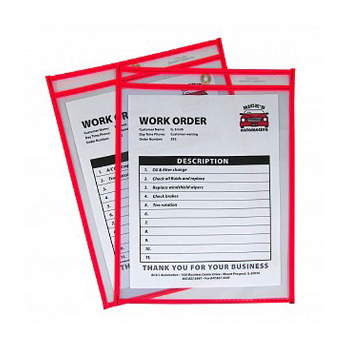 "C-Line Neon Red 9"" x 12"" Stitched Shop Ticket Holders 15pk (CLI-43914) Image 1"