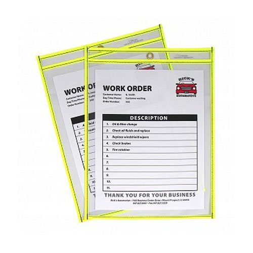 """C-Line Neon Yellow 9"""" x 12"""" Stitched Shop Ticket Holders 15pk (CLI-43916) Image 1"""