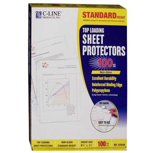 C-Line Non-glare Standard Weight Poly Sheet Protectors 100pk (CLI-62048)
