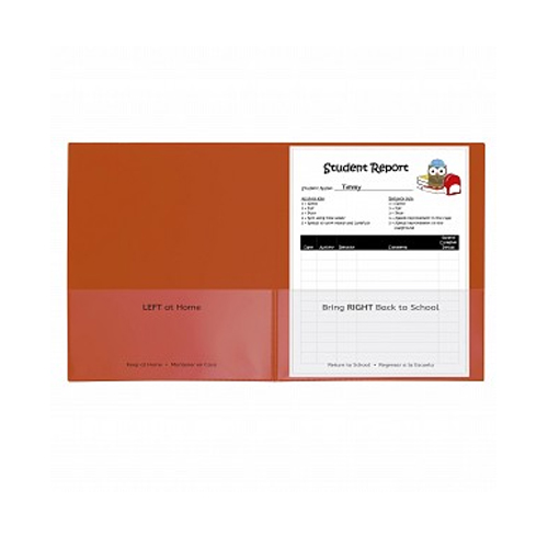 C-Line Orange Classroom Connector School-To-Home Two-Pocket Folder 25pk (CLI-32002)