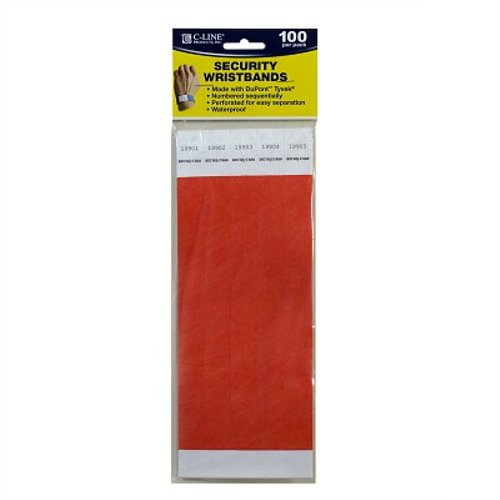 C-Line Orange DuPont Tyvek Security Wristbands 100pk (CLI-89102), Id Supplies Image 1