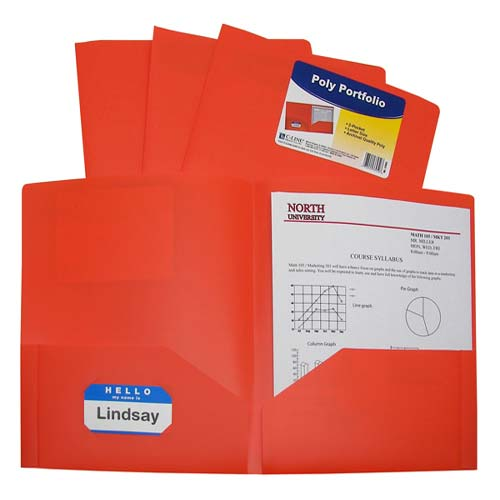 C-Line Orange Two-Pocket Heavyweight Poly Portfolio 25pk (CLI-33952) - $32.29 Image 1
