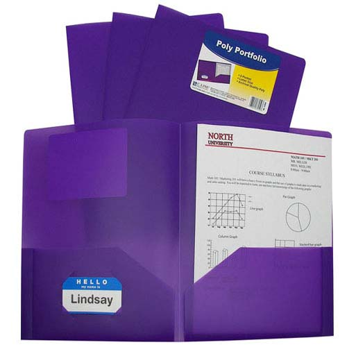 C-Line Purple Two-Pocket Heavyweight Poly Portfolio 25pk (CLI-33959) - $32.29 Image 1