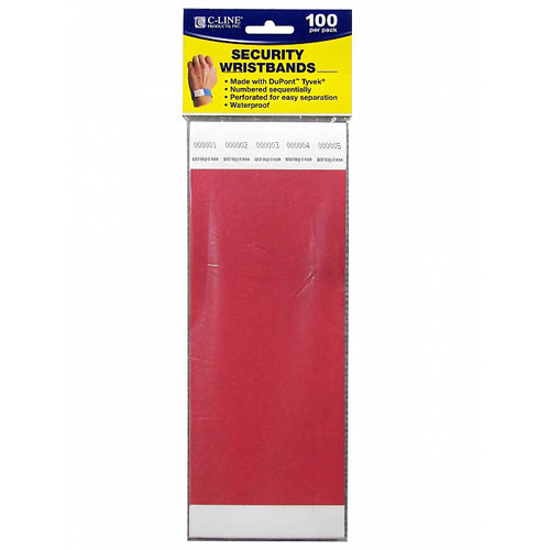 C-Line Red DuPont Tyvek Security Wristbands 100pk (CLI-89104), C-Line brand Image 1