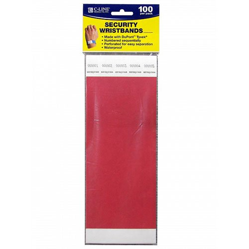 C-Line Red DuPont Tyvek Security Wristbands 100pk (CLI-89104) Image 1