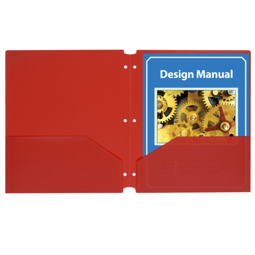 C-Line Red Two-Pocket Poly Portfolio Folder with Three-Hole Punch 25pk (CLI-32934) Image 1