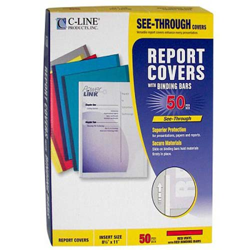 C-Line Red Vinyl Report Covers with Red Binding Bars 50pk (CLI-32554) Image 1