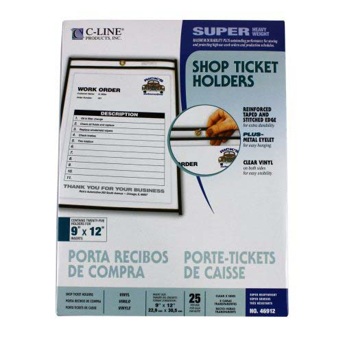 "C-Line Reinforced Edge 9"" x 12"" Shop Ticket Holders 25pk (CLI-46912) Image 1"