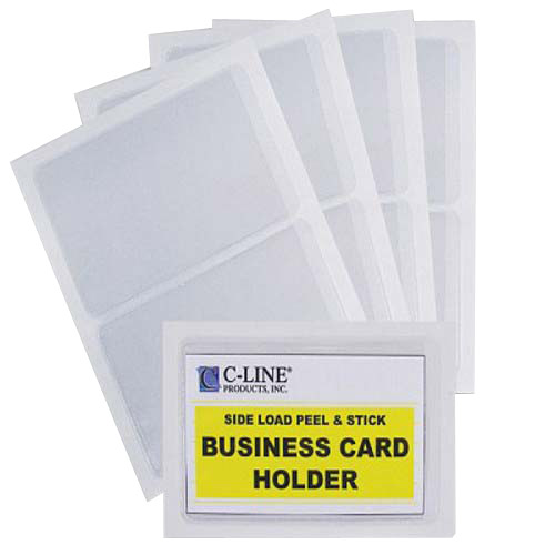 C-Line Side Load Peel & Stick Business Card Holders 10pk (CLI-70238) Image 1