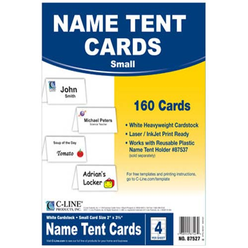C-Line Small Scored White Name Tent Cardstock 160pk (CLI-87527) Image 1
