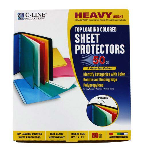 C-Line Transparent Assorted Colored Sheet Protectors 50pk (CLI-62010) Image 1