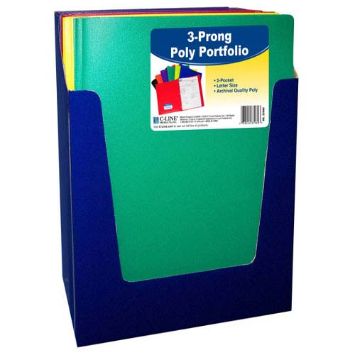 C-Line Two-Pocket Heavyweight Poly Assorted Folder with Prongs 36pk (CLI-33960) Image 1