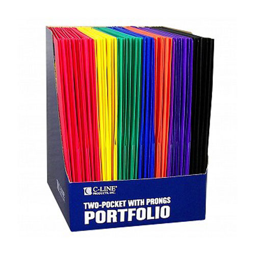 New C-Line Two-Pocket Heavyweight Poly Assorted Folder
