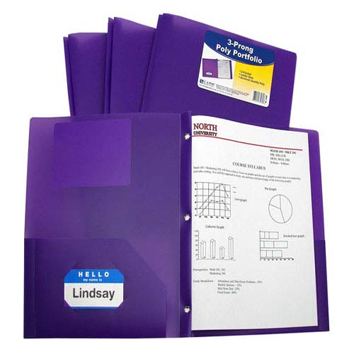 Two Pocket Heavyweight Poly Folder with Prongs Image 1