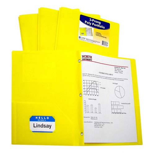 C-Line Two-Pocket Heavyweight Poly Yellow Folder with Prongs 25pk (CLI-33966) Image 1