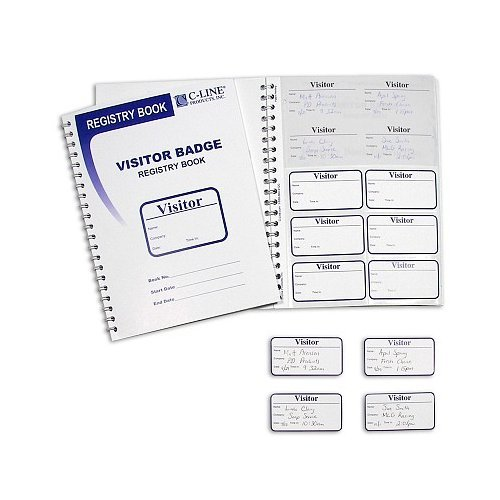 C-Line Visitor Badges with Registry Log 150/book (CLI-97030) Image 1