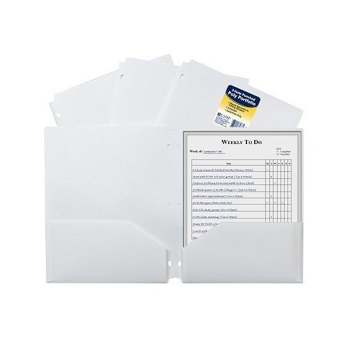 C-Line White Two-Pocket Poly Portfolio Folder with Three-Hole Punch 25pk (CLI-33937) Image 1