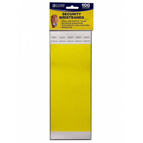 C-Line Yellow DuPont Tyvek Security Wristbands 100pk (CLI-89106) Image 1